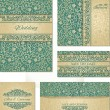 Set of wedding cards in vintage style — Stockvectorbeeld