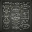 Set of vintage design elements on blackboard — Imagens vectoriais em stock