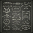 Stock Vector: Set of vintage design elements on blackboard