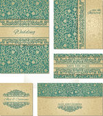 Set of wedding cards in vintage style — Stock Vector