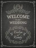 Wedding poster on black chalkboard — Stock Vector
