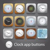 Clock app buttons — Vector de stock