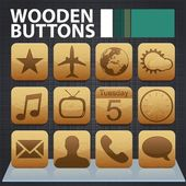 Wooden app buttons — Stock Vector