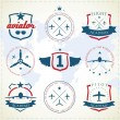Set of vintage aviation labels — Stock Vector