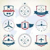 Set of vintage aviation labels — Vector de stock