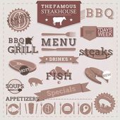 Vintage BBQ Grill Steakhouse design elements and labels. — Stock Vector