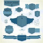 Airborne labels and badges — Stock Vector