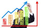 Businessman drawing graph grow — Stock Photo
