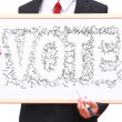 Businessman show idea on whiteboard — Stock Photo
