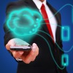 Businessman holding smart phone — Stock Photo #30959149