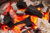 Charcoal burn fire background — Stock Photo