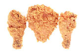 Fried chicken on white background — Stock Photo