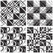 Monochrome Seamless Pattern Set — Stock Vector