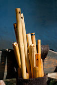 Carved wooden flutes — Stock Photo