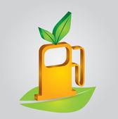 Concepto de ecología - estación de combustible — Vector de stock