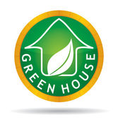 Green house icon with leaf — Stock Vector