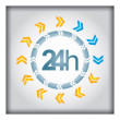 24h icon with arrows — Stock Vector