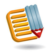 Communication icon, with document and pen — Stock vektor