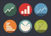 Graph of development, icon set — Stock Vector
