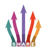Share icon illustration with arrows — Stock vektor