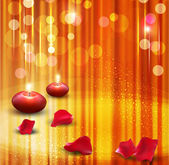Vector festive background with candles and rose petals — Stock Vector