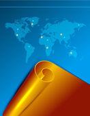 Desplazamiento de vectores de oro en el fondo del mapa del mundo — Vector de stock