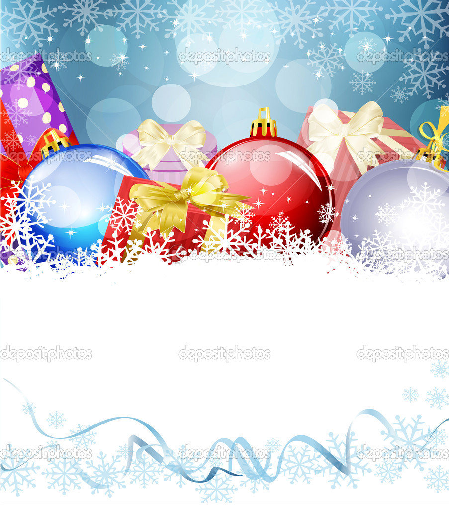 Vector New Year's Eve, Christmas background with balls and gifts — Stock Vector #13947820