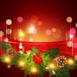 Vector holiday Christmas background with red ribbon and Christma — Stockvektor