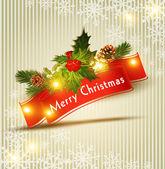 вектор праздничный новогодний фон с красной ленточ — Cтоковый вектор