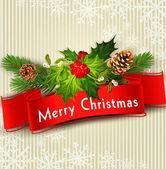 Vektorové slavnostní vánoční pozadí s červeným ribb — Stock vektor