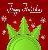 Jul vektor bakgrund med tre firtrees — Stockvektor