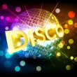 Stock Vector: Vector disco background with disco ball and gold lettering