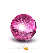 Vector pink disco ball on a white background — Stock Vector
