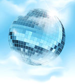 Vector background with a mirrored disco ball reflecting blue sky — Stock Vector
