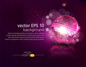 Vector background with a mirror ball and reflection — Stock Vector