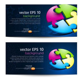 Vector set with business backgrounds with puzzles — Stock Vector