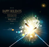 Vector holiday background with lit sparklers — Stock Vector