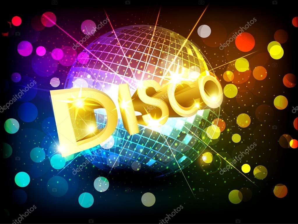 Vector disco background with disco ball and gold lettering - Bola de discoteca ...