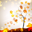Autumn vector background with a tree and flying leaves — Stock Vector #21274053
