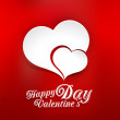 Vector background of Valentine's Day, with two paper hearts - Stock Vector