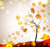 Autumn vector background with a tree and flying leaves — Stock Vector