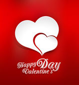 Vector background of Valentine's Day, with two paper hearts — Stock vektor