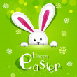 Vector Easter bunny looking out a green background - Imagen vectorial