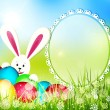 Stock Vector: Vector easter background with frame for text, rabbit and eggs