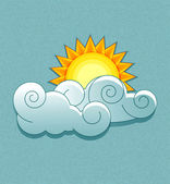 Vector weather icons in retro style. Sun behind the clouds. — Stock Vector