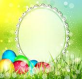 Vector fondo de Pascua con el marco de texto y los huevos — Vector de stock