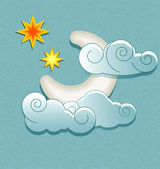 Vector weather icons in retro style. Moon behind the clouds and — Stock Vector