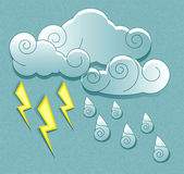 Vector weather icons in retro style. Cloud droplets and lightnin — Stock Vector