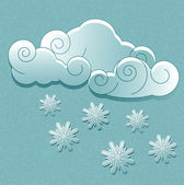 Vector weather icons in retro style. Clouds with snowflakes — Stock Vector