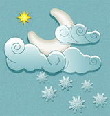 Vector weather icons in retro style. Moon in the clouds with sta — Stock Vector